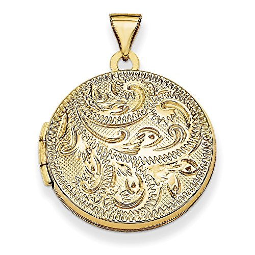 - Mia Diamonds 14K Yellow Gold 20mm Round Fully Scroll Hand Engraved Locket Pendant (30mm x 21mm)