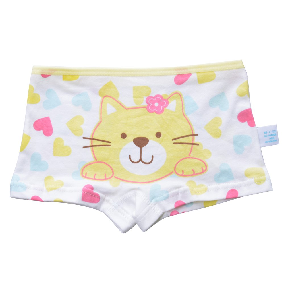 Toddler Girls' 4-Pack Love Heart Pussy Cat Assorted Hipster Panties Cotton Seamless Underwear Set Size XL/8-10 Years by Xrknofio (Image #3)