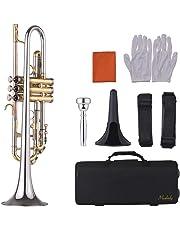 Muslady Trompeta Bb Diseño Multicolor con Boquilla Soporte de Trompeta Bolsa Guantes Paño de Limpieza Instrumento de Cobre