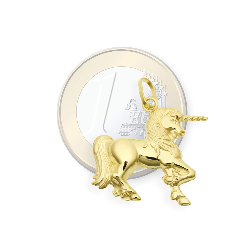 Art.206178 Einhorn Anh/änger beidseitig 3D 14 Karat Gold 585