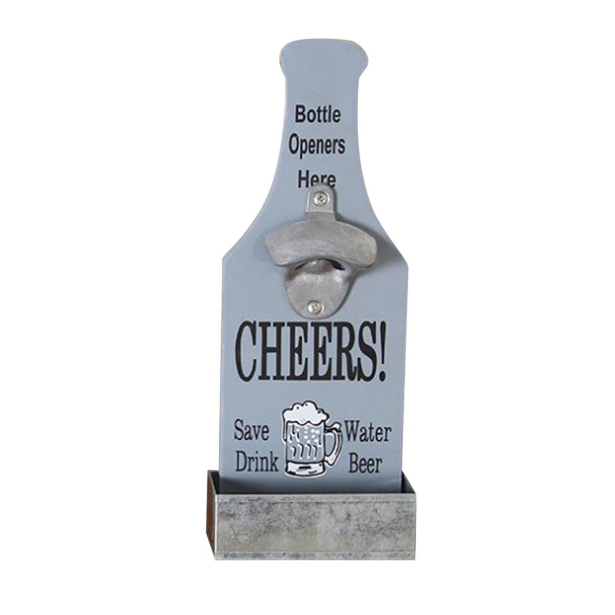 OUNONA Apri di bottiglia di birra a parete di Woody Apri di bottiglia da birra a parete Apparecchio a bottone da birra a barra (grigio)