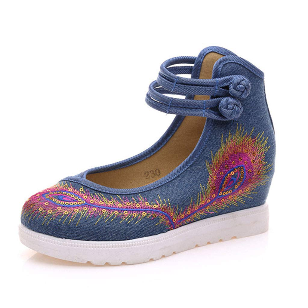 XHX en Rétro Mesdames Chaussures Brodées Élégant 19987 Bas Chaussures en : Tissu Respirant Basiques 5cm Ballet Chaussures (Couleur : Bleu, Taille : 35) Bleu 2a73ebe - boatplans.space