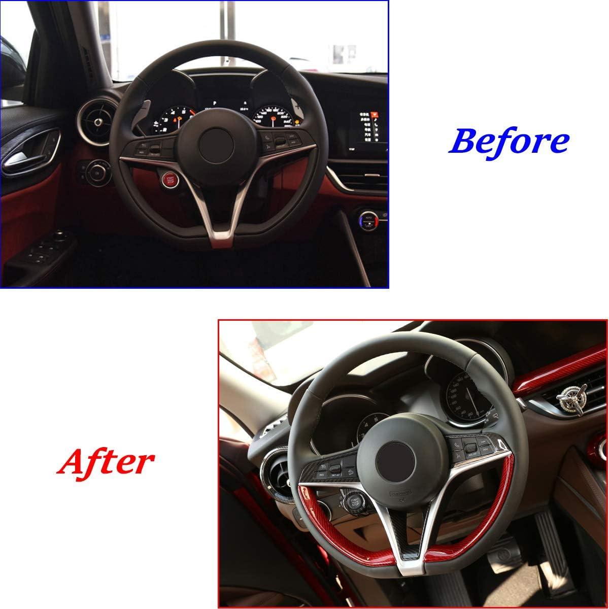 Red Real Carbon Fiber Car Steering Wheel Decoration Trim For Alfa Romeo Giulia Stelvio 2017 2018 2019 Accessories