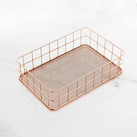 Northern Europe Rose Gold Metal Wire Serving Trays Decorative