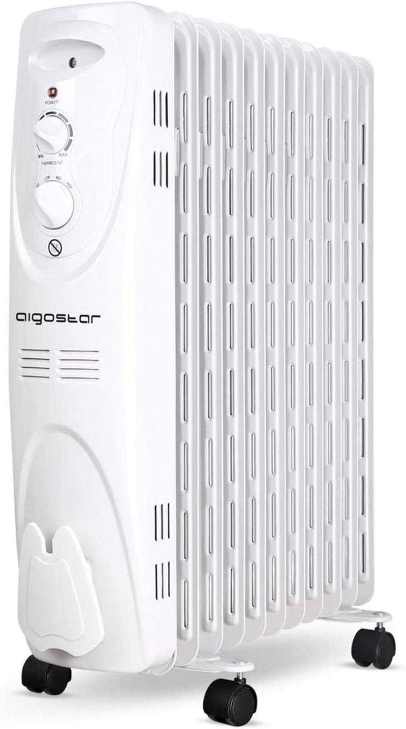 Aigostar Pangpang 33IEJ – Radiador de aceite de 11 elementos, 2300 Watios, dispone de 3 ajustes de potencia y control termostático de temperatura. Diseño exclusivo.