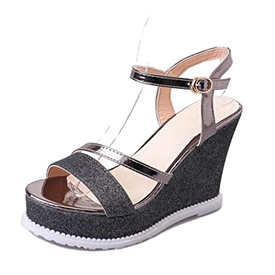 940472a28 CYBLING Fashion Peep Toe Platform Wedge Sandals Women High Heel Strappy  Shoes