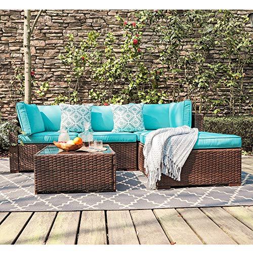 OC Orange-Causal 5 Piece Patio Furniture Sectional Sofa, Outdoor Brown PE Rattan Wicker Sofa with Turquoise Cushions & Modern Glass Top Coffee Table & Ottoman, Garden, Pool, Backyard (Furniture Outdoor Polyethylene)