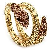 Avalaya Dazzling Coil Flex Snake Bangle Bracelet (Gold Tone)