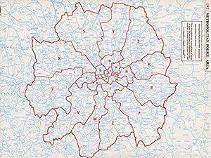 LONDON. Metropolitan Police areas. Boundaries & divisions