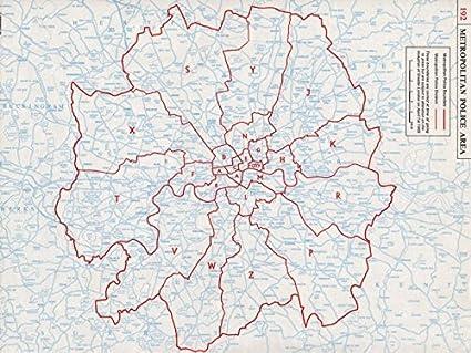 London Map Areas.London Metropolitan Police Areas Boundaries Divisions 1964