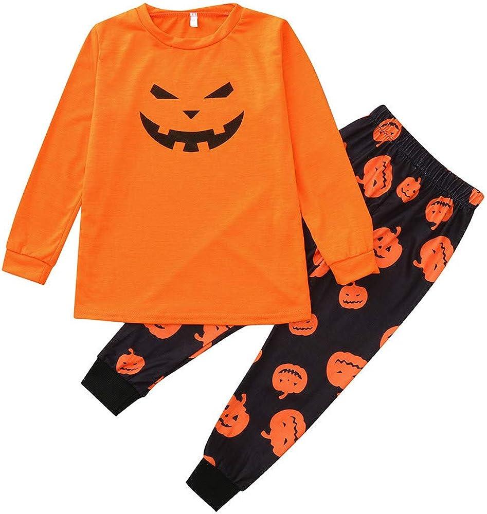 2PCS Kids Pajamas Sleepwear Halloween Set Long Sleeve Tops+Pants Sleepwear Outfit Children Clothes