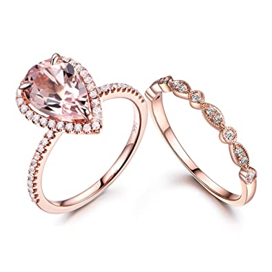 MYRAYGEM,wedding ring sets Pear Shaped Morganite Ring Set Diamond Halo  Antique Marquise Milgrain Stackable Band 14k Rose Gold