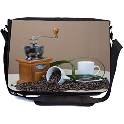 high-quality Rikki Knight Coffee Grinder And Cups On Some Bean Design Multifunction Messenger Bag - School Bag - Laptop Bag - with padded insert for School or Work - includes Pencil Case