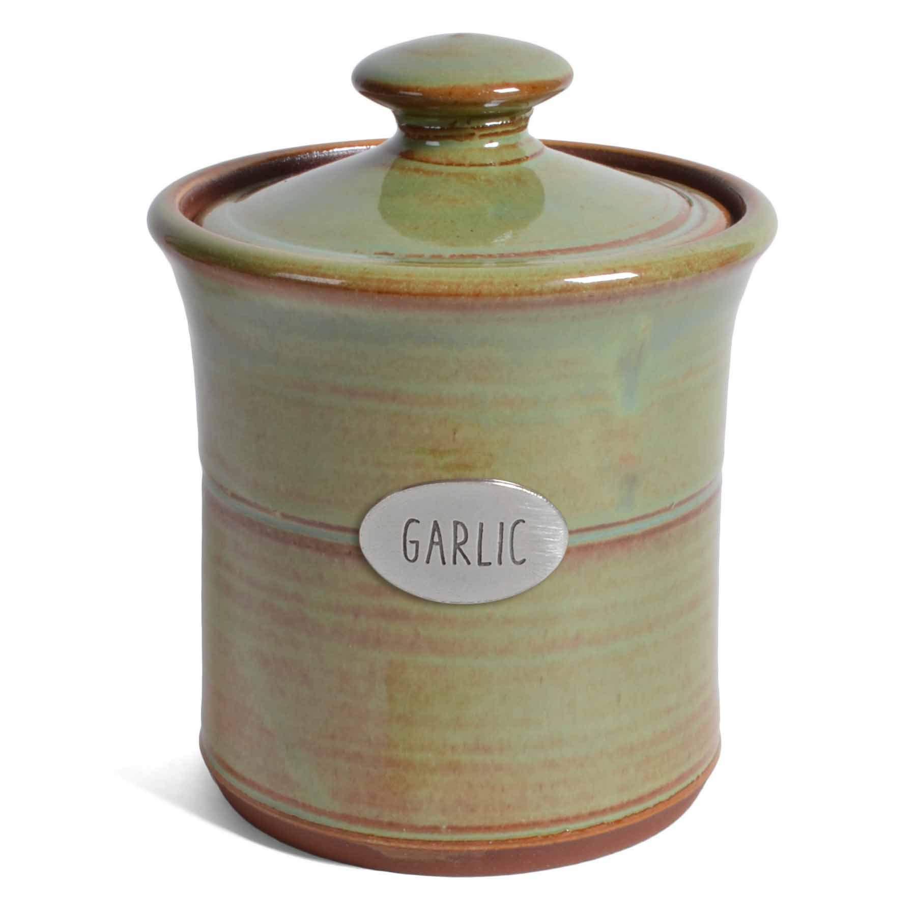 Oregon Stoneware Studio Garlic Pot, Pistachio by Oregon Stoneware Studio