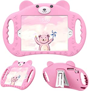 PZOZ iPad Kids Case Compatible iPad 7th & 8th Generation 10.2 in Shockproof Silicone Handle Stand Heavy Duty Protective Boys Girls Cover for Apple New iPad 10.2 in 7th Gen 2019 (Pink)