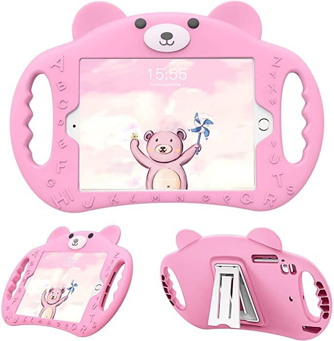 pzoz Case Compatible iPad Case for Kids Shockproof Silicone Handle Stand Heavy Duty Protective Boys Girls Cover for Apple iPad Air 1/2 Pro 9.7 2017/2018 A1893 A1954 5th Generation 6th Gen (Pink)