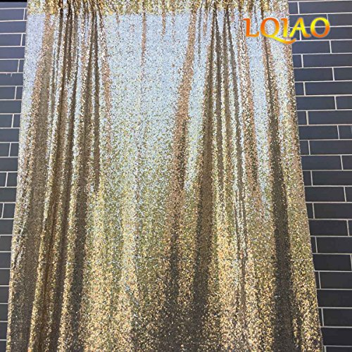 LQIAO 20FTx10FT Light Gold Shimmer Sequin Fabric Backdrp Wedding Photo Booth Photography Backdrops Background DIY Party Banquet Decoration by LQIAO