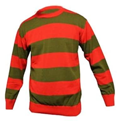 8abd0f78bf3 Mens Red and Dk. Green Stripe Freddy Kruger Fancy Dress Jumper (Small (Chest
