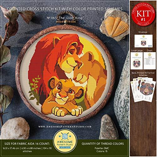 The Lion King #K065 Embroidery Kit   Disney Cross Stitch Patterns   How to Cross Stitch   Needlepoint Kits   Funny Animals Stitch Design   Embroidery Stitches