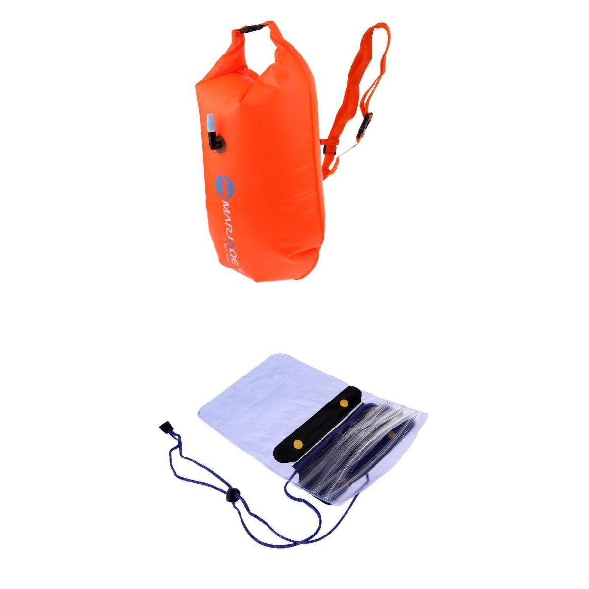 MagiDeal Orange Inflatable Dry Bag Open Water Swim Float Tow Dry Bag & Waterproof Phone Pouch Cover Case Holder Keeper