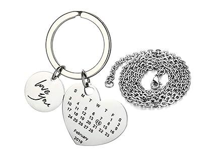 Lf Edelstahl Personalisierte Herz Kalender Keychain