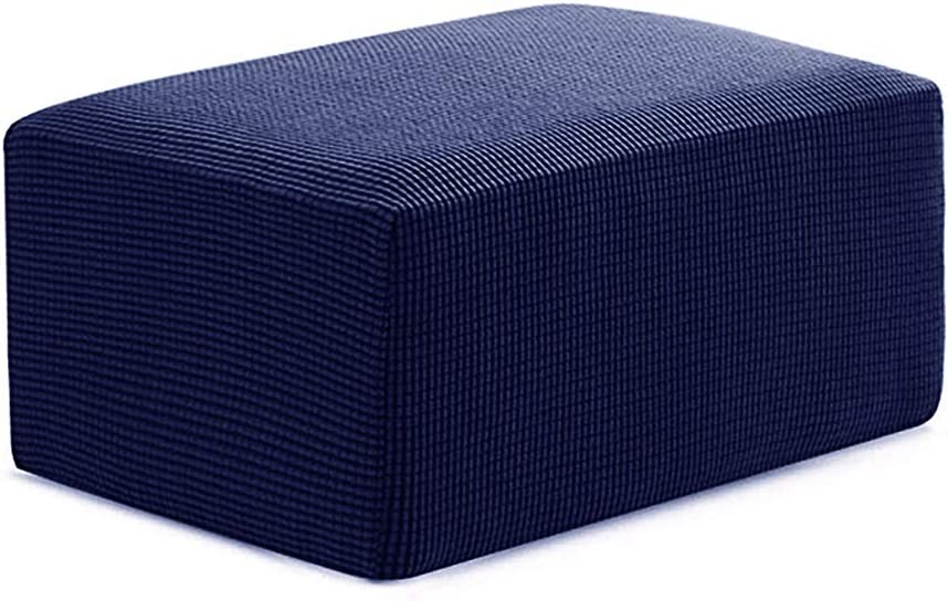 summerkimy Jacquard Ottoman Cover Protector Square Stool Stretch Slipcover Fabric Sofa Covers Elastic for Polyester Spandex Footstool D/écor Grey, S