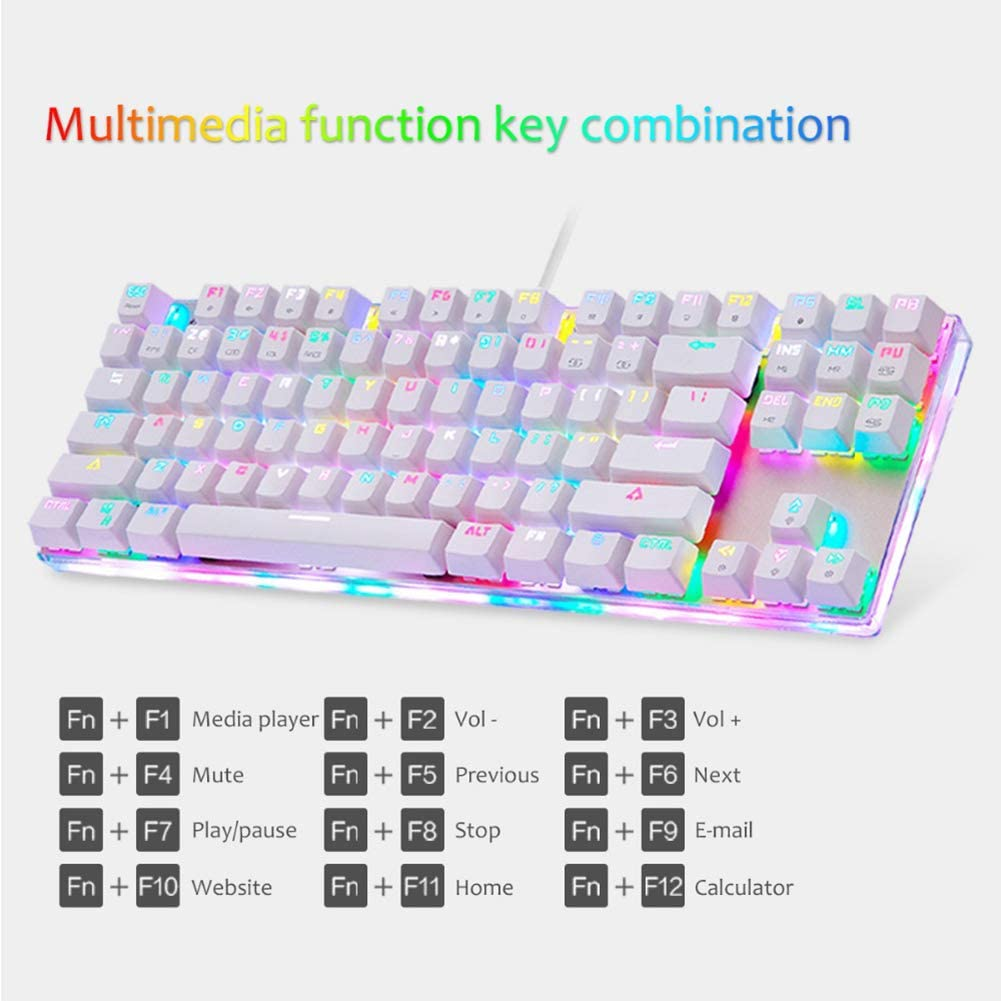 JIAX USB Wired Mechanical Keyboard Blue Switches with RGB 10 Kinds Backlight 87 Keys Full Key Without Punch for PC Computer Gaming Gamer Keyboard,Whitegreenshaft