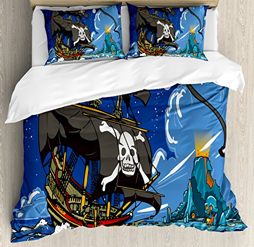 Pirate Island Adventure (Ambesonne Pirate Duvet Cover Set Queen Size, Caribbean Waters Adventure Time Volcano with Sea Storm Skull Island Jolly Roger, Decorative 3 Piece Bedding Set with 2 Pillow Shams, Multicolor)