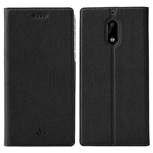 Nokia 5 Case,Feitenn PU Leather Wallet Flip Smart Cover Stand Kickstand Card Holder Magnetic Closure Clear TPU Bumper case For Nokia 5 (Black)