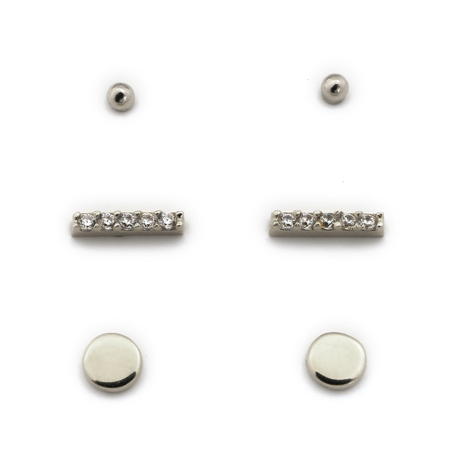 14k Yellow, White or Rose Gold Circle, Cubic Zirconia Bar and 2mm Ball Stud Earrings Set