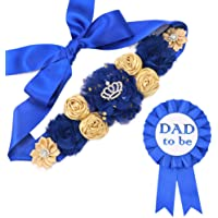 Royal Blue Maternity Sash & Dad to be Corsage Kit - Baby Shower Sash Baby Boy Pregnancy Sash Keepsake Baby Shower Flower Belly Belt