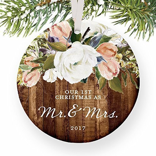 First Christmas Wedding Ornament (Rustic Newlyweds Christmas Ornament, 2017 First Christmas as Mr & Mrs Gift for Couple Wedding Day Beautiful Modern Farmhouse Floral Present 3