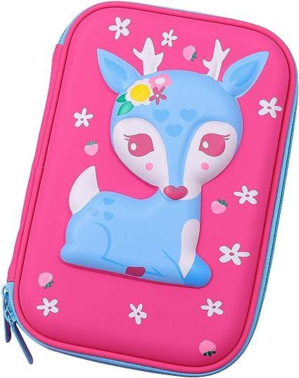 Estuche para lápices de ciervo para bebé, multifuncional, gran capacidad, estuche para lápices, estuche para colorear, organizador de artículos escolares, bolsa de papelería, color hot pink: Amazon.es: Oficina y papelería