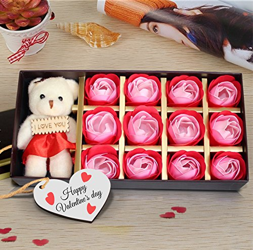 TiedRibbons Tied Ribbons Scented Bath Soap Rose Petals with Teddy and Wooden Tag in a Gift Box Romantic Birthday for Girlfriend Boyfriend Husband Wife Him Her Men -