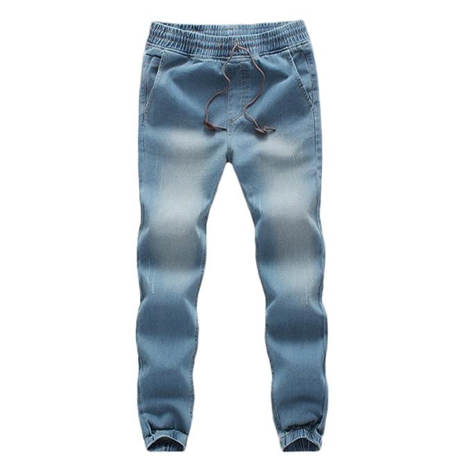 JiaMeng Pantaloni - Pantaloni Casual da Uomo in Denim di Jeans da Lavoro  con Stringhe Elastiche in Cotone Denim Casual  Amazon.it  Abbigliamento d419c466e8d