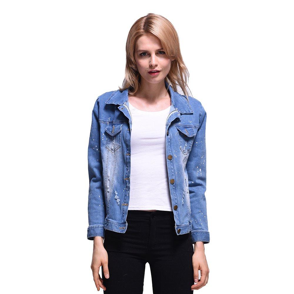 Winter Jacket Women 2017 Ladies Real Fox fur Lined Denim Jeans Womens Jackets (M) by HSPL (Image #5)