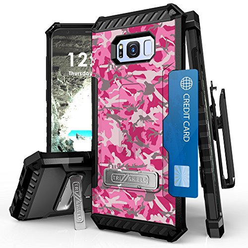 for Galaxy S8 Case, Trishield Durable Shockproof Rugged Heavy Duty Phone Cover with Built in Kickstand Card Slot Belt Clip Holster Screen Protector Lanyard Loop Pink Gray Camo