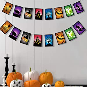 Halloween Colorful Banner Kit for Party Decoration Home Themed Birthday Decor Hanging Spider Web Bat Witch Ghost Haunted House Horrible Tree Cat Garland for Theme Birthday Party