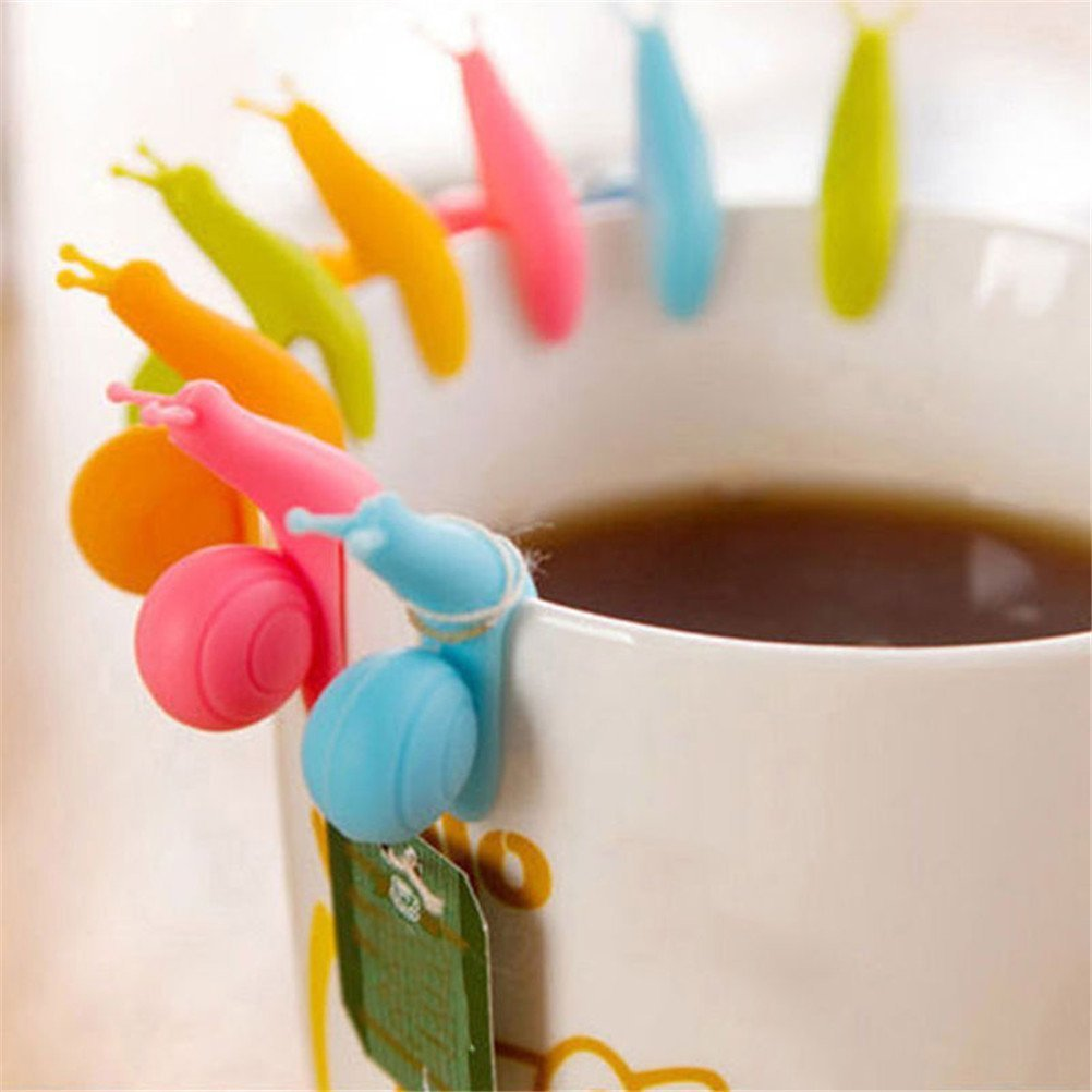CoscosX 10 Pcs Cute Snails Shape Silicone Tea Bag Holder Drink Markers Teabag Holder Clip Spoon Rest Holder Cup Mug Hanging Tool Identifiers Heat Pad Candy Random Color