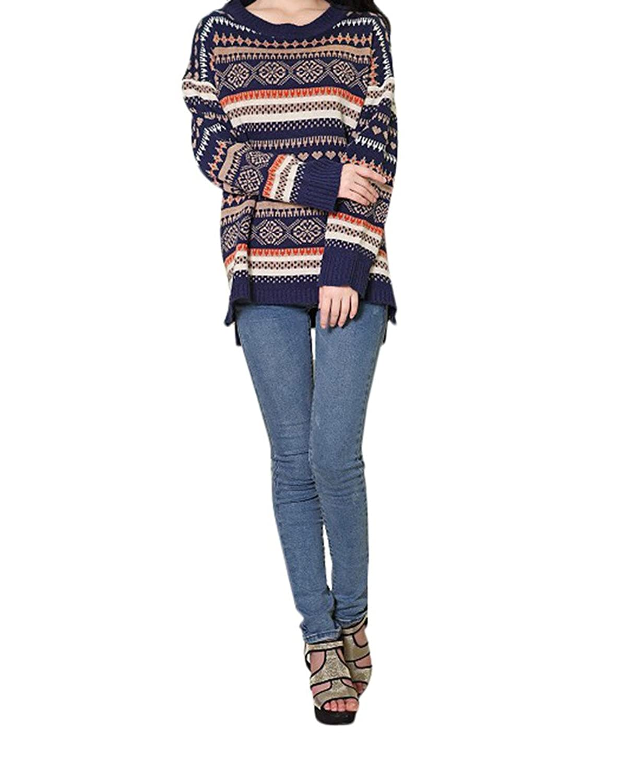 Christmas Womens Retro Knit Sweater Loose Pullover Boyfriend Cardigan Navy