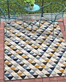 Well Woven Miami Blue Indoor/Outdoor Triangles Area Rug 5×7 (5'3″ x 7'3″) High Traffic Stain Resistant Modern Geometric Carpet Review