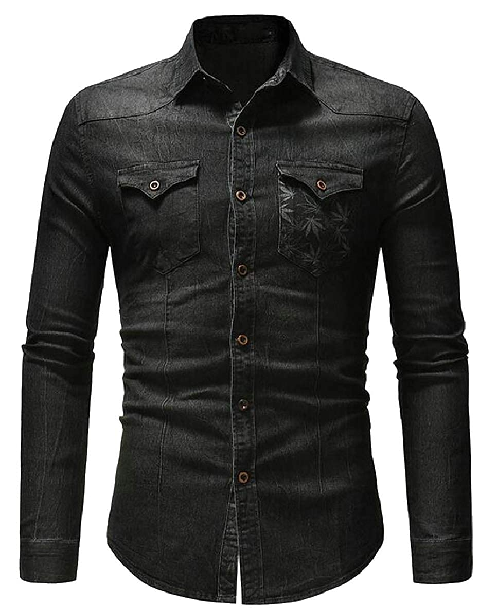 Smeiling Mens Solid Denim Shirt Slim Fit Casual Long Sleeve Button Down Shirts
