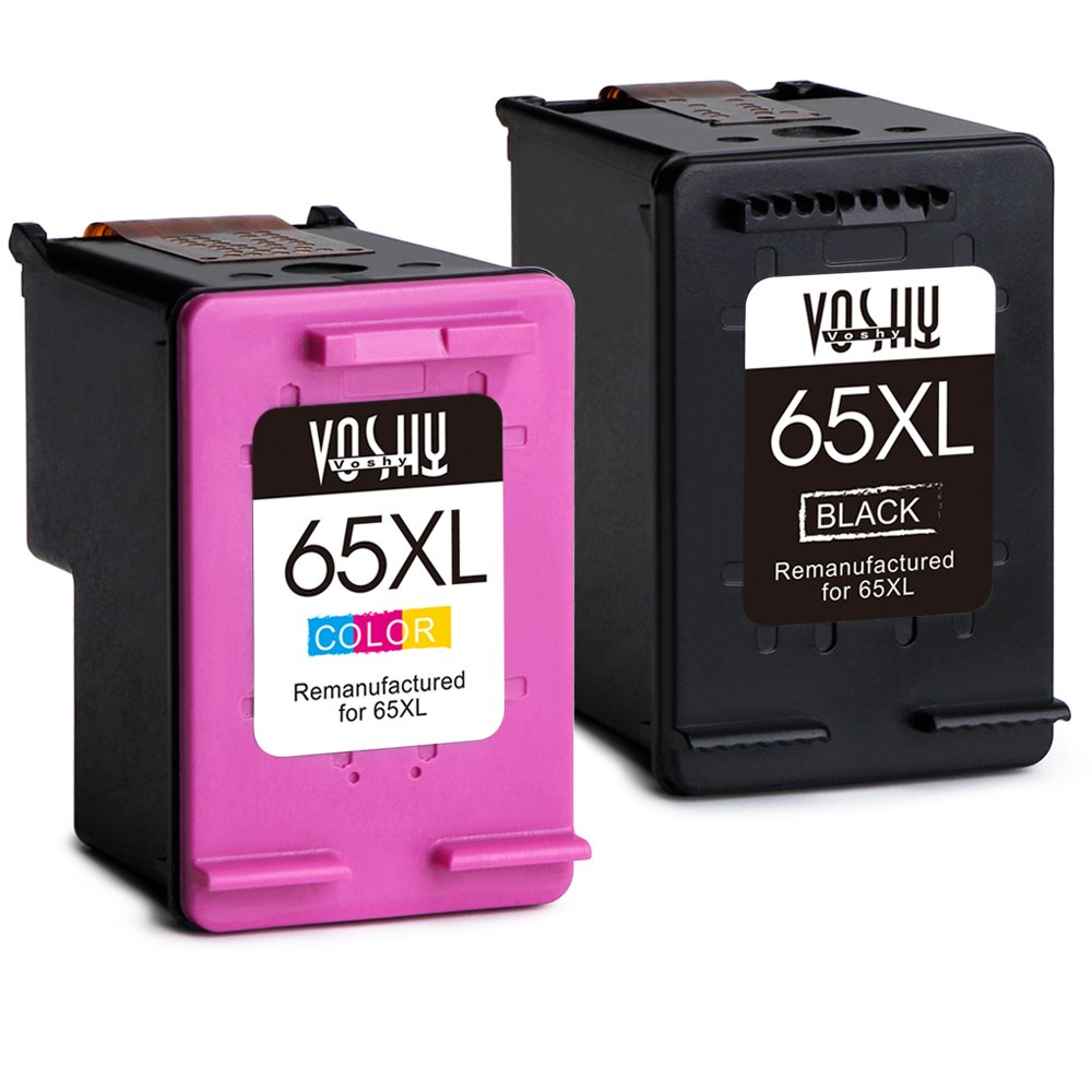 Voshy Remanufactured HP 65XL 65 Ink Cartridges, High Yield Replacement for HP DeskJet 3755 2655 3752 2652 2624, HP Envy 5055, HP AMP 100 Printer - 1 Black, 1 Tri-Color