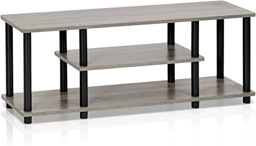 FURINNO Turn-N-Tube 3-Tier Entertainment TV Stands, French Oak Grey Black