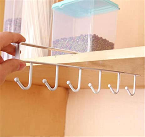 UNKE 6 Hooks Cup Holder Hang Kitchen Cabinet Under Shelf Storage Rack  Organiser Hook (White