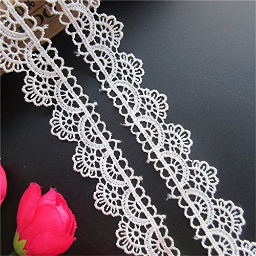 5 Meters Floral Picot Polyester Lace Edge Trim Ribbon 3 cm Width Vintage Style White Edging Trimmings Fabric Embroidered Applique Sewing Craft Wedding Bridal Dress DIY Party Headwear Garment Decor