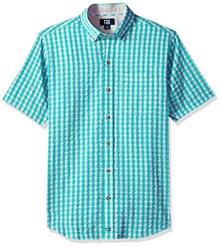 Cutter & Buck Men's Tyler Plaid Short Sleeve Button Down Seersucker Shirt, Newport Tyler Seersucker, Large