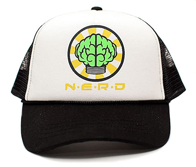 4a5fc51edd1 NERD Unisex-Adult One-size Flat Bill Trucker Hat Multi (White Black ...