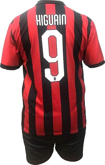 6b088bdbdaa61 Conjunto Equipacion Camiseta Pantalones Futbol A.C. Milan Gonzalo Higuain  Replica Oficial Autorizado 2018-2019 Niños