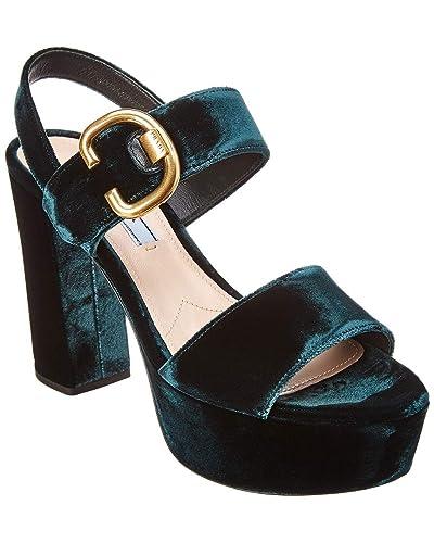 34cb9c6a5945ec Amazon.com | Prada 105 Velvet Platform Sandal, 38.5, Green | Sandals